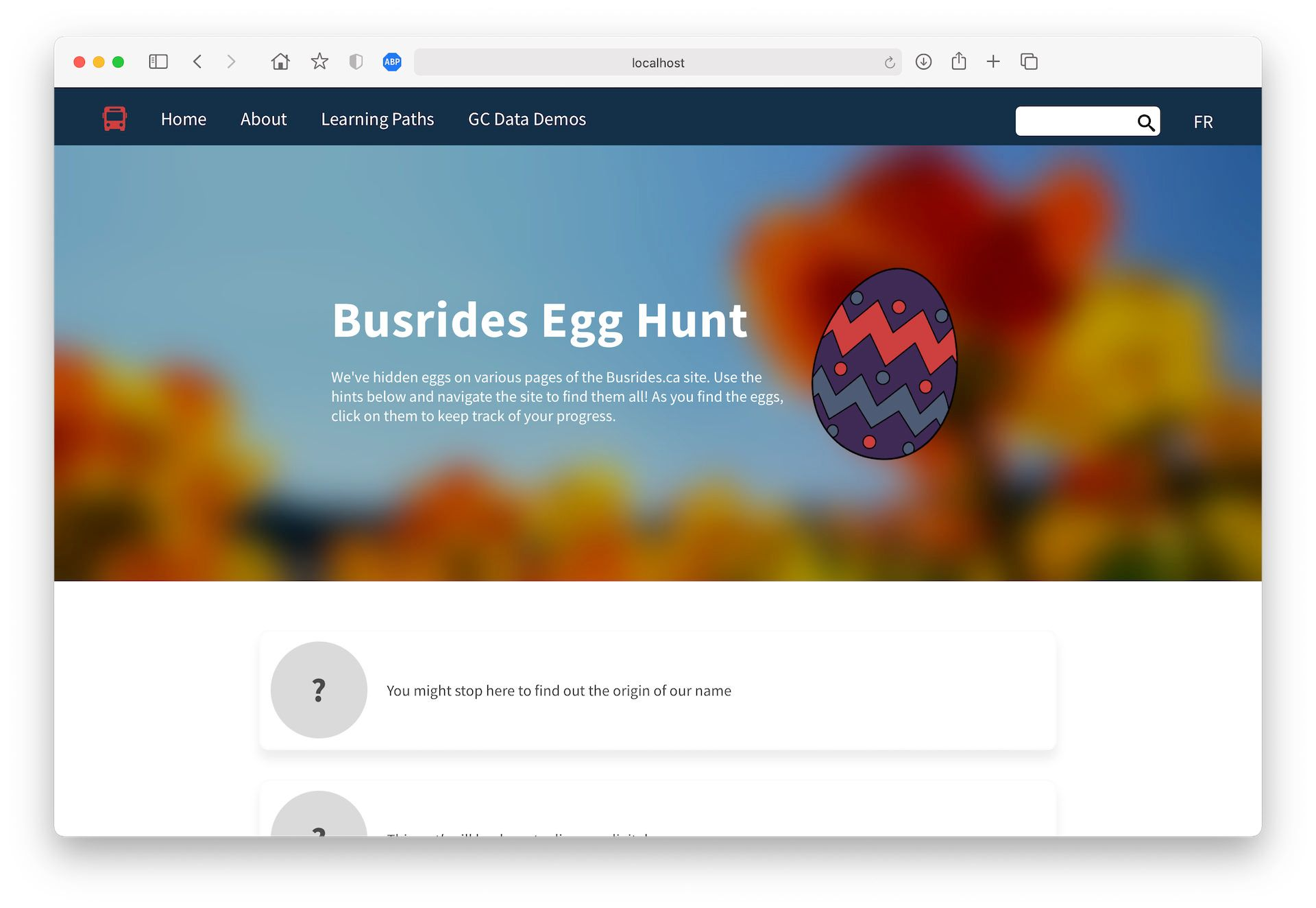 A screenshot of the Busrides Egg Hunt page