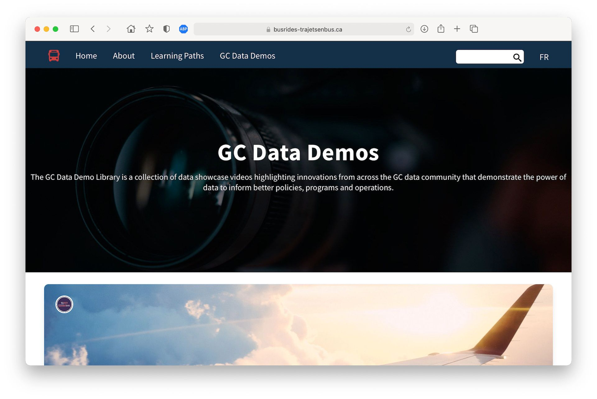 A screenshot of the GC Data Demos page