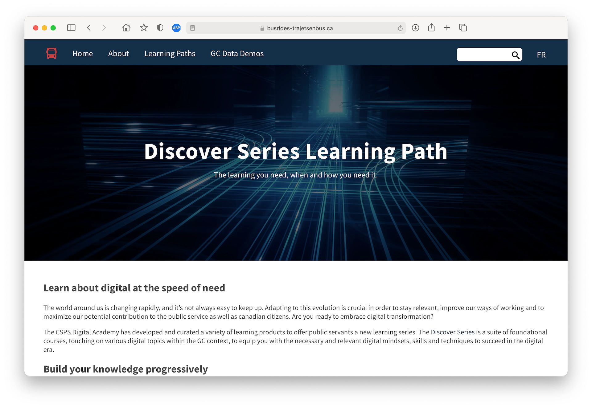 A screenshot of the Learning Paths page